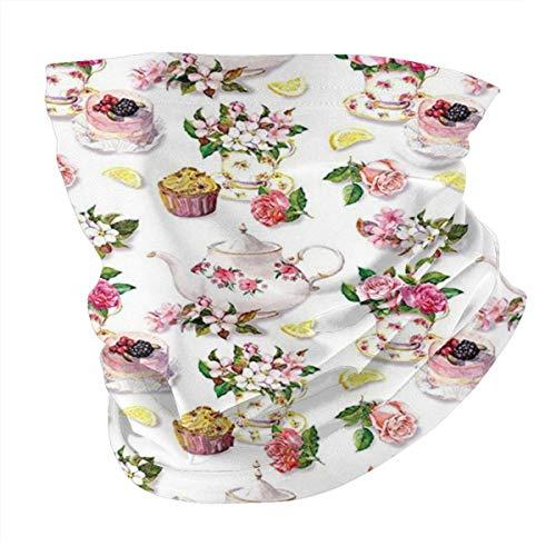 Q&SZ Sweatshirt Outdoor Headband Kitchen Decor Roses Shabby Chic Decor Vintage Teapots Flowers Leaves Cakes Lemon Art Print Multicolor Scarf Neck Gaiter Face Bandana Scarf Head Scarf
