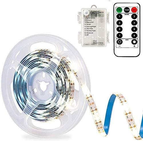 CCILAND LED Streifenlichter Batteriebetrieben, 3 Meter 90 LED Streifen Lichtleiste für Deko Schneidbar,Selbstklebend,Fernbedienung,Timer,8 Modi,Dimmbar Warmweiß (Weiß)