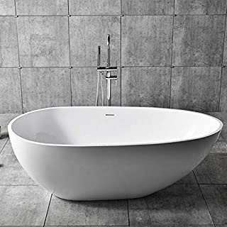 JiaYouJia Oval Freestanding Bathtub Matte White Stone Resin Bathroom Soaking Tub with Center Drain & Overflow