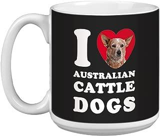 Tree Free Greetings XM28996 I Heart Australian Cattle Dogs Artful Jumbo Mug, 20-Ounce