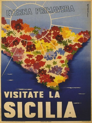"""Visit Sicily Sicilia Largest Island in the Mediterranean Sea Always Spring Italy Travel Italian Italia 12"""" X 16"""" Image Size Vintage Poster Reproduction. Available in larger sizes!"""