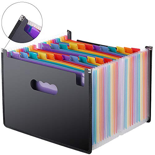 Expanding File Folder 24 Pockets, Multi-Color Accordion A4 Document Organizer with Expandable Wallet Stand  Works on A4 Size and Letter Size
