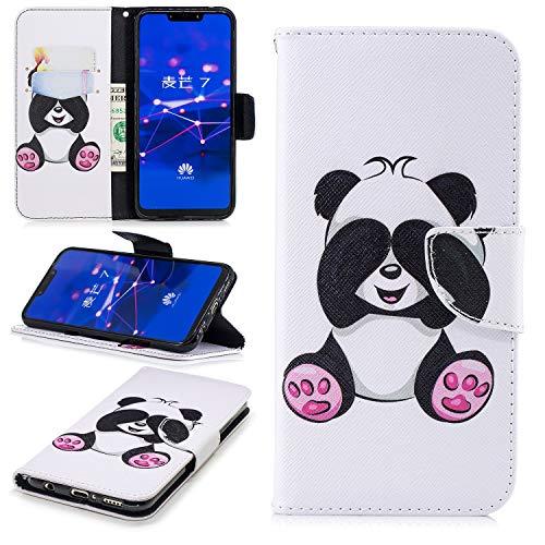 Ostop Portefeuille en Cuir Coque pour Huawei Mate 20 Lite,Stand Étui Imprimé Motif Mignon Panda Blanc Housse Fermeture Magnétique à Rabat Fentes pour Cartes Antichoc Couverture
