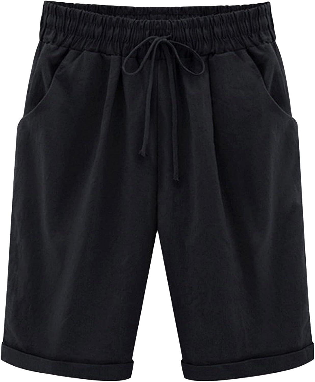 OMZIN Women's Summer Casual Cotton Elastic Waist Knee Length Bermuda Shorts Plus Size