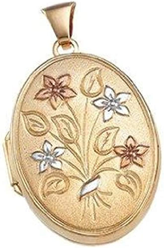 Solid 14k Yellow Gold Oval Columbus Mall Picture Locket in 3 X 5% OFF 4 Y 1 Approx