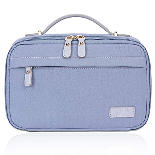 FYY Toiletry Bag, Travel Cosmetic Bag Wash Gargle Bag Large Capacity Zippered Organizer with Top Handle for Men Women Blue