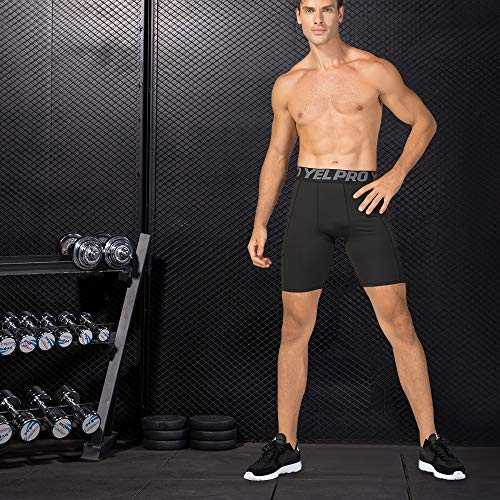 51Fv92OVVIL. SS500  - Lixada Men's Compression Shorts Pants Sports Baselayer Tights Active Workout Underwear Leggings with Pockets - - Large