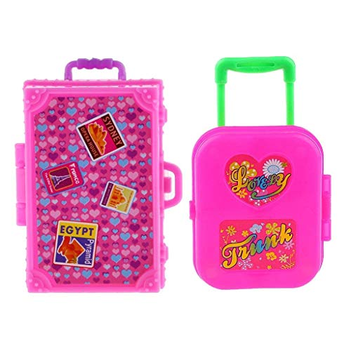 2 Pieces Cute Pink Miniature Plastic Travel Luggage Case Suit Dollhouse Box for Barbie Doll Decoration Accessory