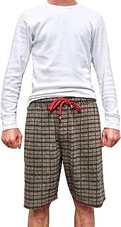 Men's Knitted Yarn Dyed Plaid Lounge Sleep Shorts Pajama Jams Elastic Waist Shorts for Men