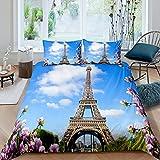 Eiffelturm Trösterbezug 135x200 Für Kinder Mädchen Erwachsene Frauen Rosa Blume Bettbezug Romantisch Frankreich Paris Bettwäsche Set 3D Stadt Gebäude Tagesdecke Abdeckung Schlafzimmer Dekor Blau