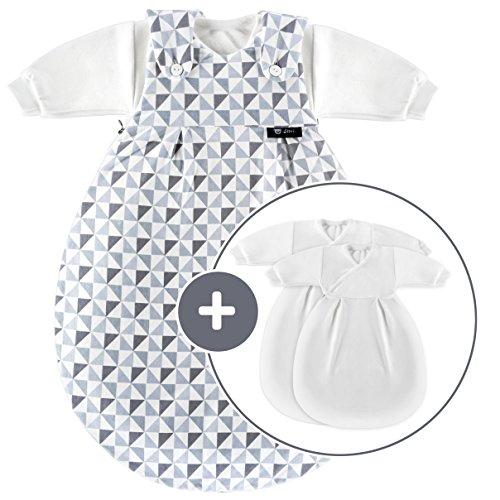 Alvi Baby Mäxchen Original/Ganzjahres Baby-Schlafsack - 3-tlg. mit gefüttertem Außensack und 2 Innensäcken mit Ärmeln/mitwachsend/Birnenform - Triangel Silber Grau (56/62)