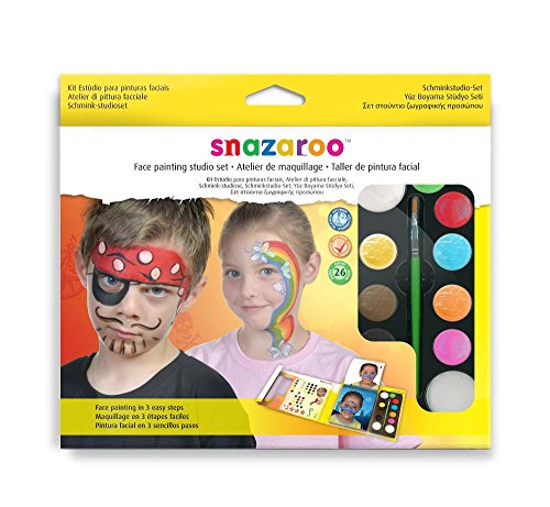 Snazaroo Ultimate Party Set, make-uppalet met 2 penselen Studio Set: 9 Farben Kinderschmink studio set - 9 kleuren