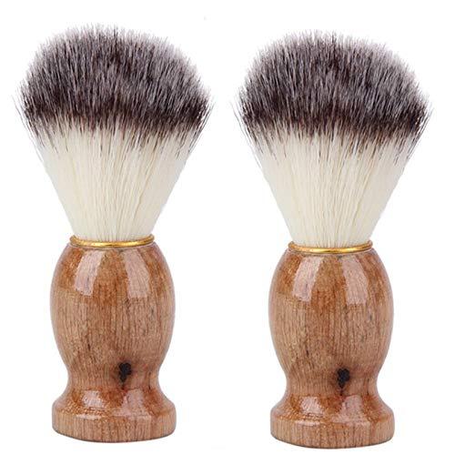 TOOGOO 2Pcs Blaireau Cheveux Hommes Blaireau Salon Hommes Faciale Barbe Nettoyage Appareil de Rasage Outil Rasoir Brosse avec Manche en Bois pour Hommes
