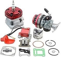 GOOFIT Carburador 19 Dellorto Minimoto Chino con 44mm Cilindro Motor del Filtro de Aire para Decespugliatore 2 Tiempos 47cc 49cc Scooter Pit Bike ATV Mini Quad Rojo