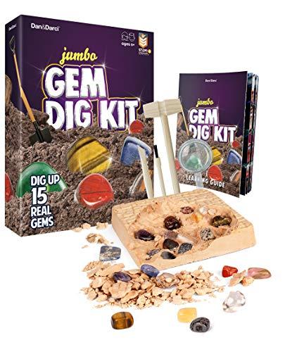 Mega Kit Scava Gemme - Estrai 15 Gemme Vere | Fantastico Regalo di Scienza, Gemmologia, Estrazione, per Bambini e Bambine | Pietre, Minerali, Gioco di Escavazione