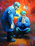 Yomiie 5D Diamond Painting Nurses Full Drill by Number Kits, Colorful Two Doctors Paint with Diamonds Art Rhinestone Embroidery Cross Stitch Craft for Home Room Decoration (12x16 inch)