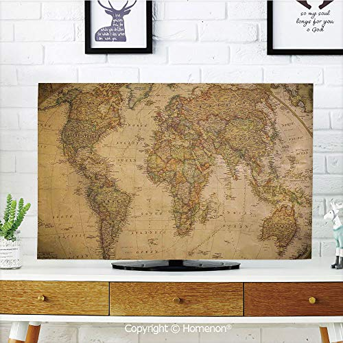 Indoor POP TV dust Cover,Cover Type 55 inch LCD TV 3D Printed with Anthique Old World Map in Retro Color with Vintage Nostalgic Art Deco,Soft Polyester TV Cover Suitable for Sets of Most Models TV
