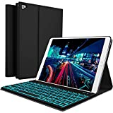 YEKBEE iPad Keyboard Case for New 2018 iPad, 2017 iPad, iPad Pro 9.7, iPad Air 1 and 2 - BT Backlit Detachable Quiet Keyboard - Slim Leather Folio Cover - 7 Color Backlight - Apple Tablet