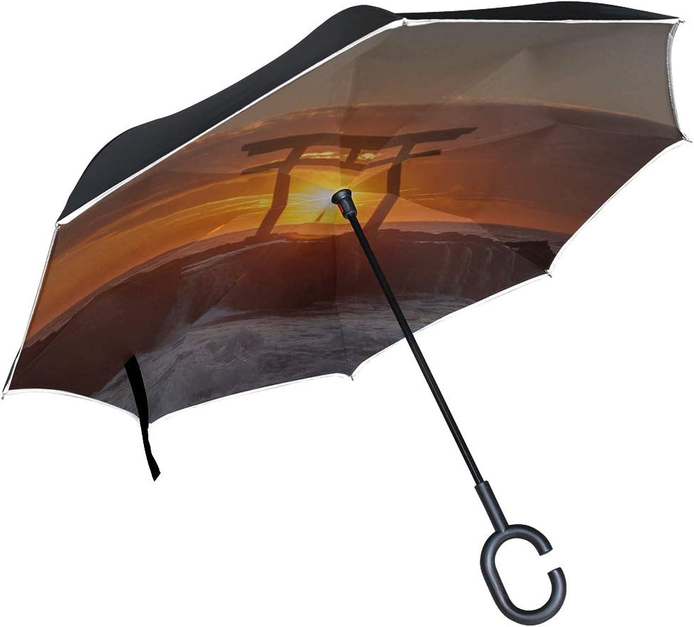 Rh Studio Ingreened Umbrella Sea Arch Sunset Large Double Layer Outdoor Rain Sun Car Reversible Umbrella