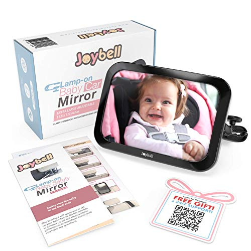 ULTRA ADJUSTABLE Baby Car Mirror To See Infant in Rear Facing Car Seat | CLAMPS FIRMLY on Headrest Post for SUPERIOR SAFETY, and WILL NOT LOOSEN or SLIP like strap-on mirrors | EASY TO INSTALL
