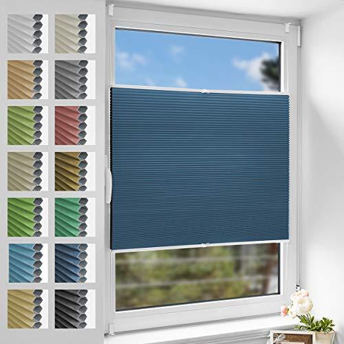 Zarnan Thermo Plissee Klemmfix 85x130cm Blau-Weiß,Plisseerollo ohne Bohren Verdunklung,Balkontür Waben Plissee lichtundurchlässig,Faltrollos für Fenster ohne Bohren