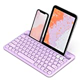 Bluetooth Keyboard, Jelly Comb Multi-Device Universal Bluetooth Rechargeable Keyboard with Integrated Stand for iPad Tablet Smartphone PC MacBook Android iOS Windows Devices-B046 (Purple)