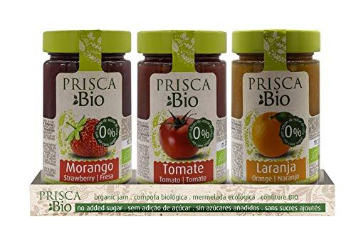 Mermelada 100% Ecológica de Fresa - Tomate - Naranja - Sin Azúcar Añadido - Produto BIO Certificado - Paquete con 3 Unidades de 240 gr cada