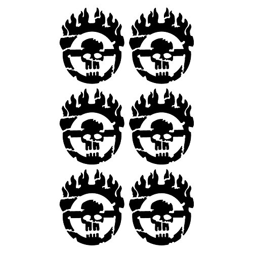 Mad Max Fury Road Grunge Style 6 Tiny Size Individual Warboy Symbol Decals 5 Year Outdoor Premium Vinyl - Single Kit - Black