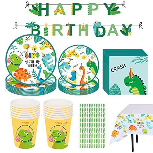 Decoracion de Fiesta Dinosaurio Cumpleaños Vajilla de Dinosaurios Desechable con Dino Platos Tazas Mantel Servilletas Pajillas Tenedores Cuchillos Fiesta de cumpleaños