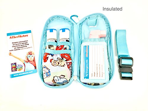 AllerMates - Allergy Medicine Carrying Case for EpiPen or Auvi-Q auto-injectors: Squares Pattern - Epipen Case Photo #4