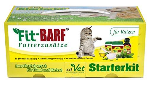 cdVet Naturprodukte BARF Starterkit für Katzen - Barf-Anfänger  - Probierpaket - Fit-BARF MicroMineral - Fit-BARF DarmFlora - Fit-BARF Futter-Öl - optimal für den Urlaub - Rohfütterung - BARFEN -