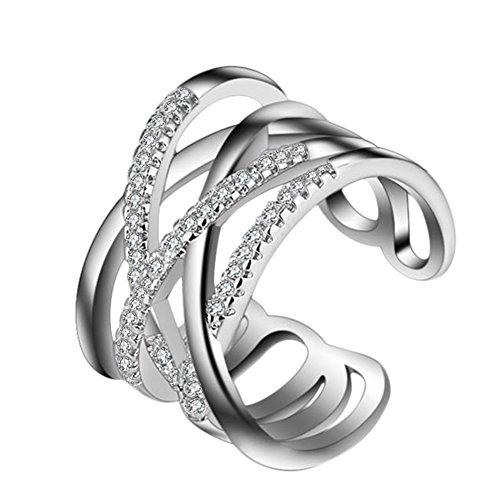 Hosaire Anillo de Plata de Con Estilo y Elegante Mujeres de Apertura Metal-Ajustable (Malla Destello de Diamante Plata)