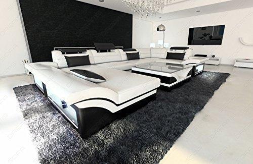 Luxus Wohnlandschaft Enzo U-Form Designer Couch mit LED weiss - schwarz