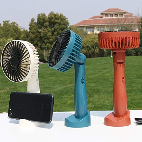 SHE.White Wiederaufladbar Handventilator mit Basis Tragbar USB Angetrieben Kühlung Ventilator Handheld Mini Ventilator Akku-Lüfter, für Büro, Haus, im Freien, Reisen