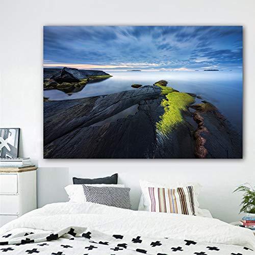 N / A Poster Wandkunst Leinwand Malerei Landschaft Ozean Rock Cloud Wandbild Wohnzimmer Home Decoration Rahmenlos 70x100cm