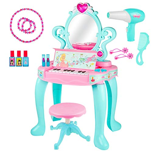 Kiddie Play Pretend Play Kids Vanity Table and Beauty Play Set with Piano, Chair and Fashion Makeup Accessories for Girls