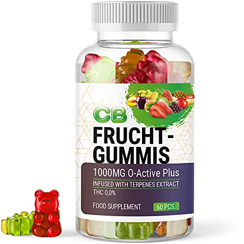 CB FRUCHTGUMMIS (1 Dose à 60 Stück) | Pflanzenwirkstoff aus Hanf - 1000mg O-Active Plus mit konzentriertem Terpene Extrakt - Frei von THC