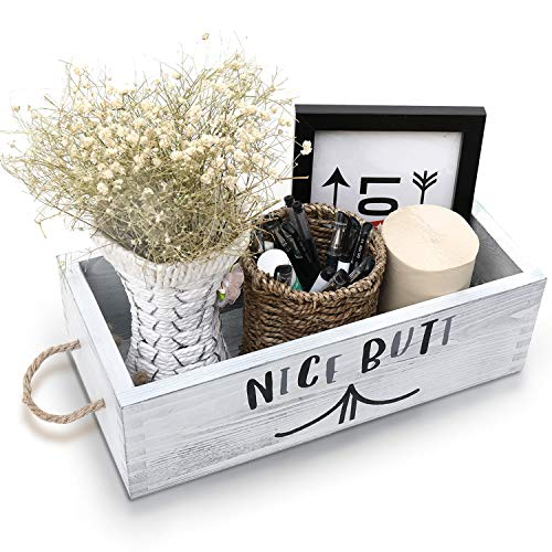 Nice Butt Bathroom Decor Box - Funny Painted Wood Sign Caddy for Toilet Paper, Flowers, Candles - Top of Tank Storage Holder Organizer for Home - Cute Farmhouse, Rustic, Shabby Chic Gift (Grey-1)