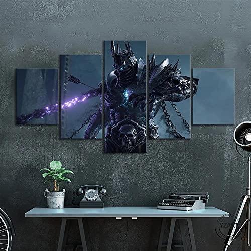 GTYUH Cuadros Decoracion Salon Modernos 5 Piezas Juego De World of Warcraft Shadowlands Material Tejido no Tejido Impresión Artística Imagen Gráfica Decoracion De Pared/150x80CM