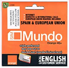 7GB + 400 min. dom. & International Calls! 1st USE Must BE in Spain Then You can go Anywhere in The European Union. Bundle Valid 30 Days. NO European CC Needed to top up. English Cust. Service.