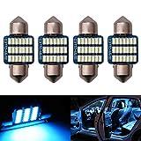 Futwod ルームランプ T10 × 31mm LED アイスブルー ブルー 青 T10 × 31 LEDバルブ 車内ランプ 車内灯 トランクライト ナンバー灯 ライセンスランプ 汎用 バルブ ルーム ライト LED電球 12V 車用 C5W LED 3014SMD 21連 両口金 無極性 100日保証 4個セット