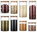 ZCY 1X Tarros de Almacenamiento de Vidrio Recipiente de Almacenamiento hermético con Tapas de bambú para bocadillos de Cereales de Cocina, tamaño 85 * 150 mm, 740 ml