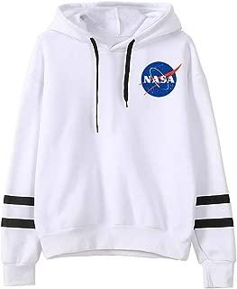 EmilyLe Men Official NASA Logo Print Hoodie National Space Administration Sweatshirt