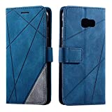 SONWO Hülle für Samsung Galaxy A5 2017, Premium Leder PU Handyhülle Flip Hülle Wallet Silikon Bumper Schutzhülle Klapphülle für Galaxy A5 2017, Blau
