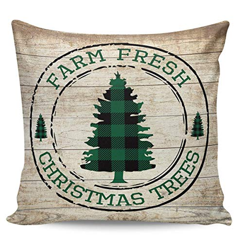 Ye Hua Canvas Throw Pillow Covers Square, Green Farm Fresh Christmas Trees Zippered Pillow Shams Cases for Cushion/Office/Sofa/Bedroom Home Decor, Retro Wooden Grain