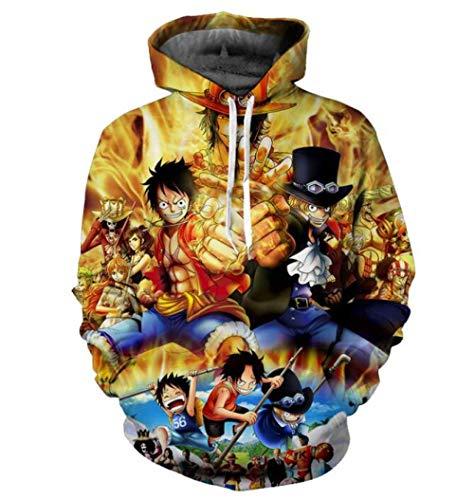 One Piece Man 3D Sudadera con Capucha Anime Monkey D Luffy Sudaderas con Capucha Jerseys Tops Ropa De Calle De Gran Tamaño 3XL -Green_4XL