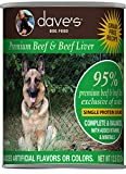 Dave's Pet Food Healthy & Grain Free Canned Dog Food for Weight Loss - 95% Beef & Beef Liver - 12Count of 13 oz Cans - Made in The USA, Green (6-85038-11802-8)