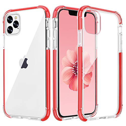 OHNICE iPhone 11 Pro Case Clear Ultra Premium Hybrid Hard PC Back Cover with Soft Crystal Corners Rubber Bumper Shockproof Protective Case for Apple 2019 New iPhone 11 Pro 5.8 inch (Red)