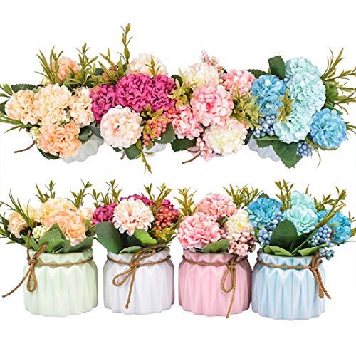 Plantas de flores artificiales - Mini flores de hortensias falsas en maceta para decoración del hogar Fiesta Boda Oficina Mesa Decoración de escritorio, 4 piezas