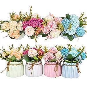 Plantas de flores artificiales – Mini flores de hortensias falsas en maceta para decoración del hogar Fiesta Boda…